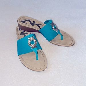 Anne Klein Sport Teal Wedge Sandals Size 8